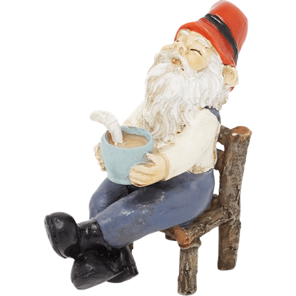 Garden Gnome with Coffee Statue