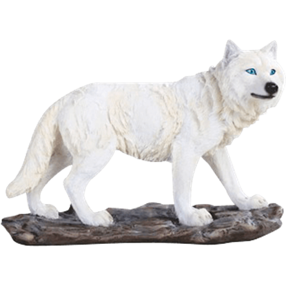 Curious Snow Wolf Statue