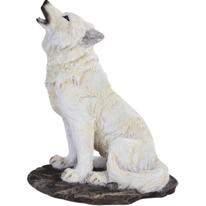 Howling Snow Wolf Statue