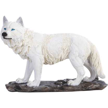 Prowling Snow Wolf Statue