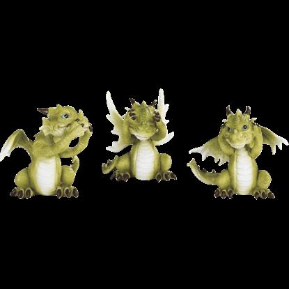 Mini No Evil Dragon Statue Set