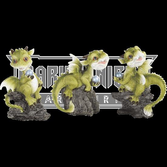 Dragon and Pearl Trio Statue Set