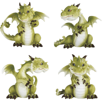 Four Poses Dragon Statue Set