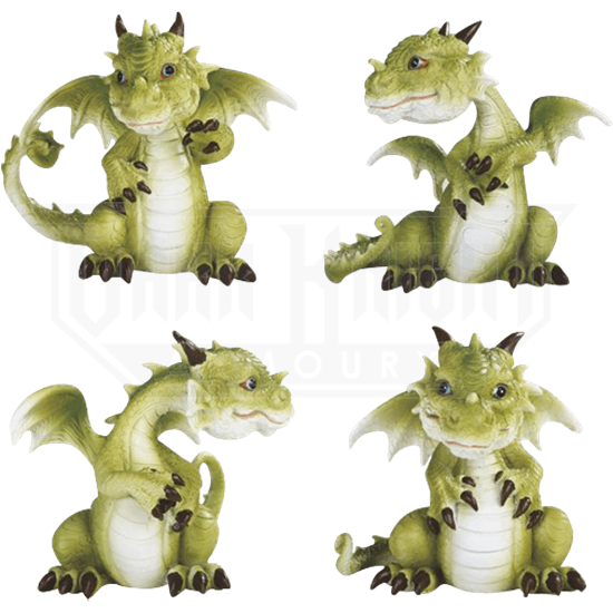 Four Poses Dragon Statue Set