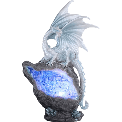 Blue Crystal Dragon LED Statue