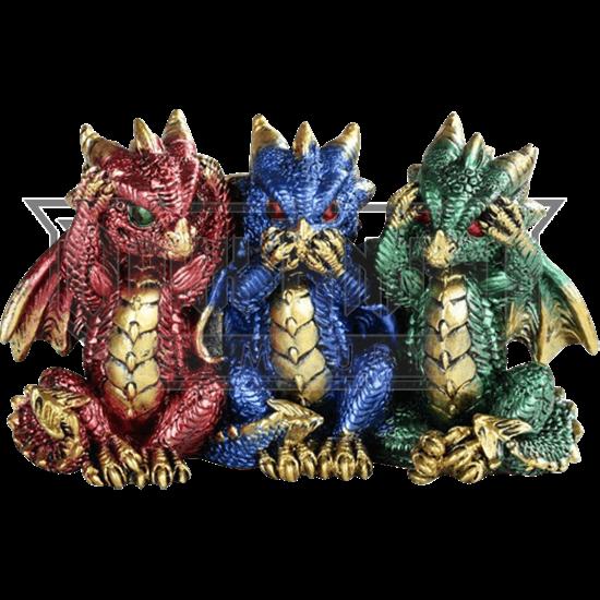 No Evil Dragon Trio Statue