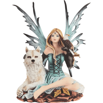 Teal Fairy with Wolf Statue