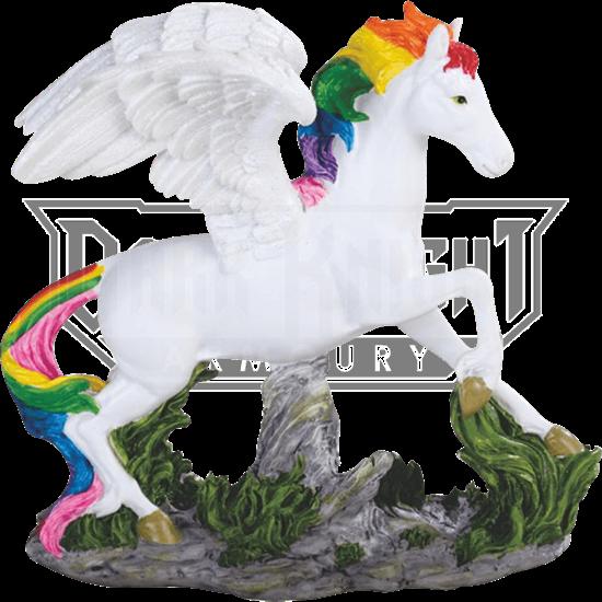 Rainbow Mane Pegasus Statue