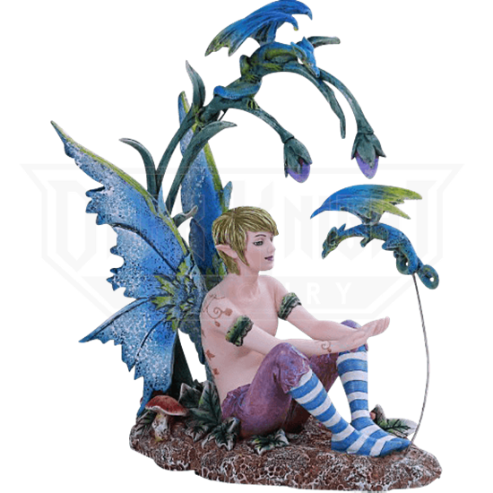 Boy Fairy and Dragon Statue