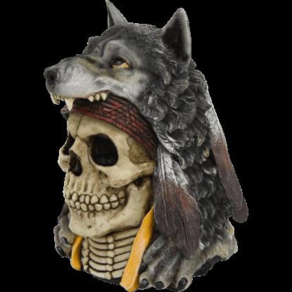 Grey Wolf Pelt Skull Statue