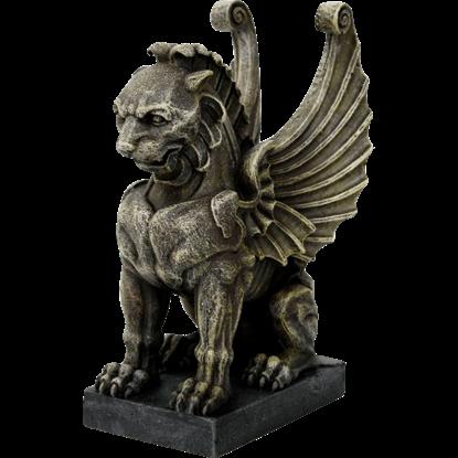 Snarling Lion Gargoyle Statue