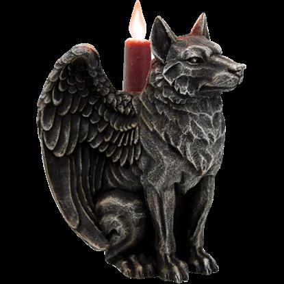 Sitting Wolf Gargoyle Candle Holder