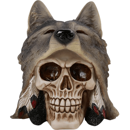 Grey Wolf Head Skull Statue