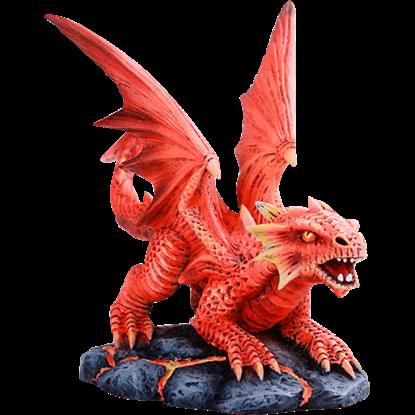 Lava Fire Baby Dragon Statue