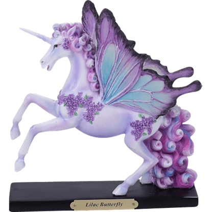 Lilac Butterfly Unicorn Statue