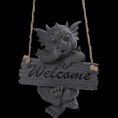 Welcome Sign Dragon Garden Statue