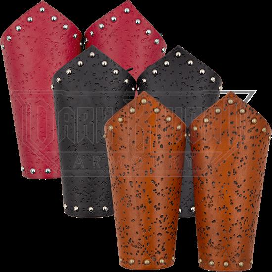 Distressed Leather Arm Bracers
