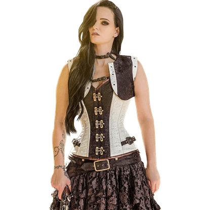 Cream Steampunk Corset and Jacket Set