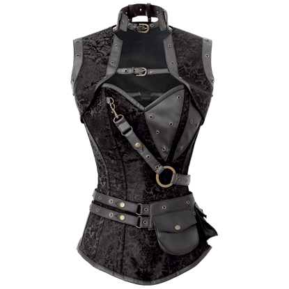 Steampunk Black Brocade Overbust Corset with Detachable Jacket