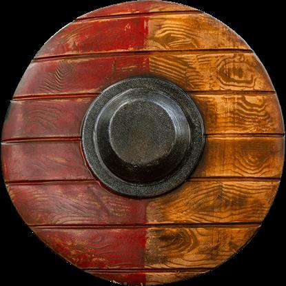 Drang Round LARP Shield - Red/Wood