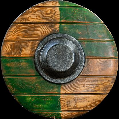 Drang Round LARP Shield - Green/Wood