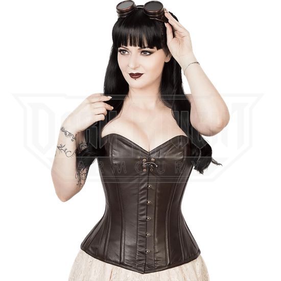 Brown Leather Overbust Waist Reducing Corset