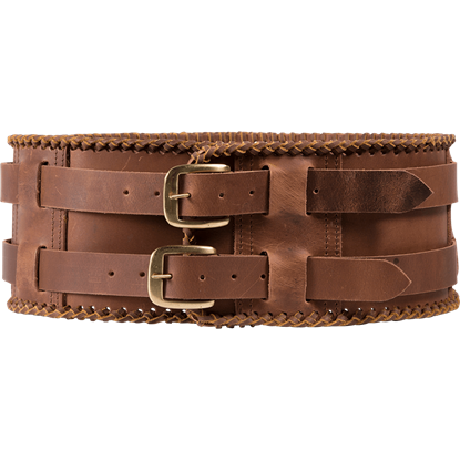 Laced Leather Wide Belt - Brown