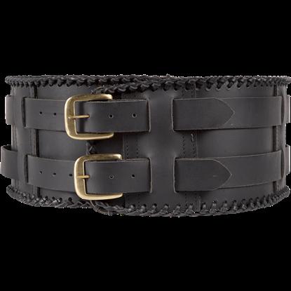 Laced Leather Wide Belt - Black