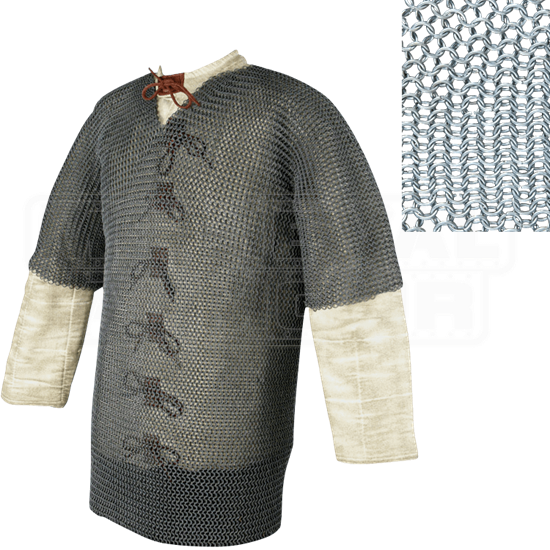 Short Sleeve Butted Chainmail Hauberk - Small