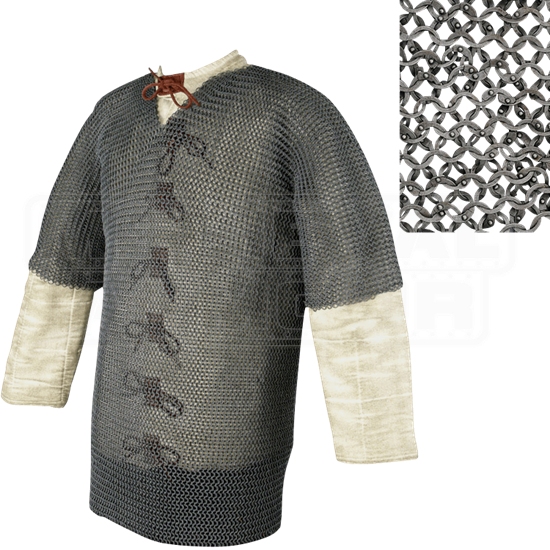 Short Sleeve Flat Ring Chainmail Hauberk - Dome Riveted - Small