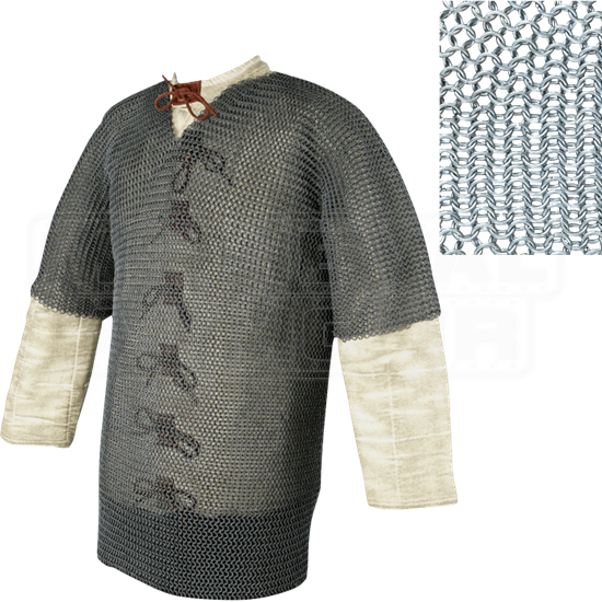 Half Sleeve Round Ring Chainmail Hauberk - Butted - Small
