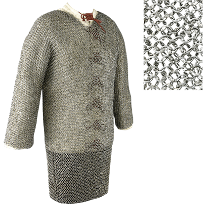 Full Sleeve Round Ring Chainmail Hauberk - Dome Riveted - Small