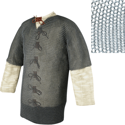 Short Sleeve Butted Chainmail Hauberk - Large