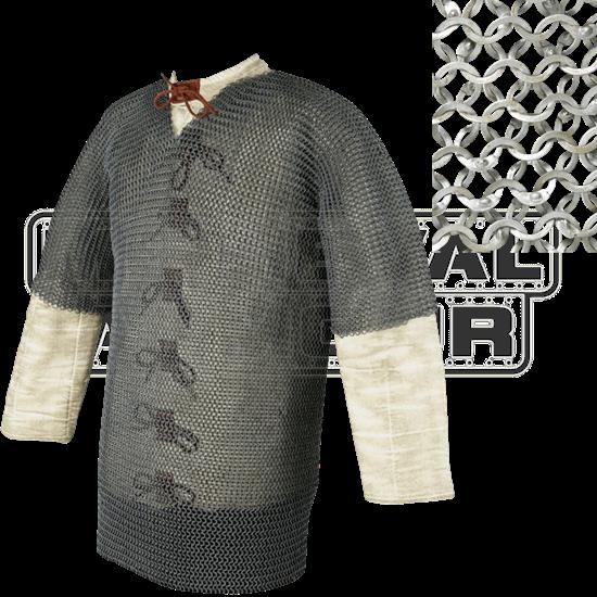 Short Sleeve Flat Ring Chainmail Hauberk - Wedge Riveted - Large