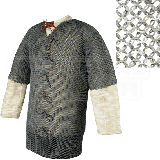 Short Sleeve Flat Ring Chainmail Hauberk