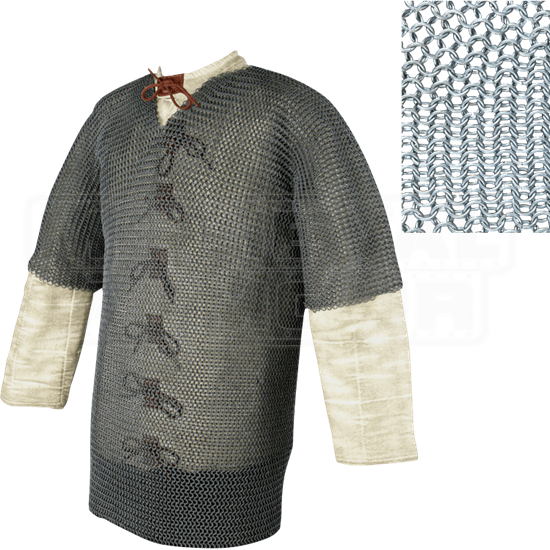 Half Sleeve Round Ring Chainmail Hauberk - Butted - Large