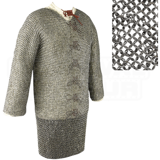 Full Sleeve Flat Ring Chainmail Hauberk - Dome Riveted - Large
