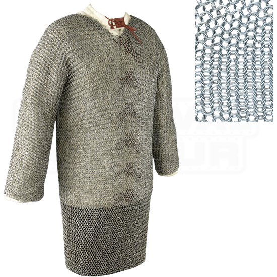 Full Sleeve Round Ring Chainmail Hauberk - Butted - Large