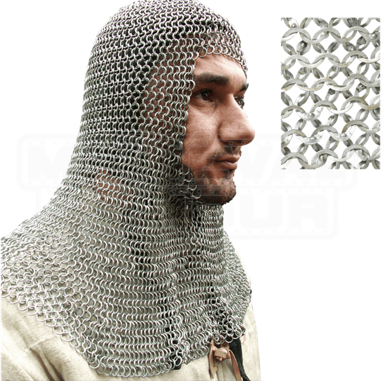 European Flat Ring Chainmail Coif - Wedge Riveted