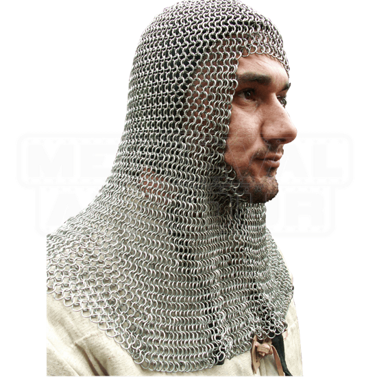 European Flat Ring Chainmail Coif - Dome Riveted