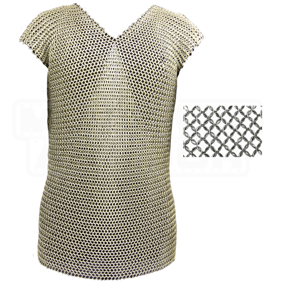 Sleeveless 50 Inch Blackened Butted Chainmail Shirt