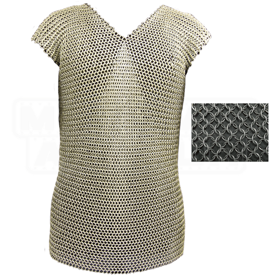 Sleeveless 60 Inch Blackened Butted Chainmail Shirt