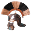 Striped Helm Plume with Wood Base
