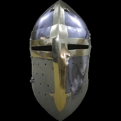 14th Century Gilded Sugar Loaf Visored Helmet