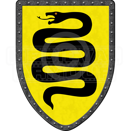 Snake on Yellow Steel Battle Shield