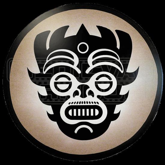 Round Aztec Mask Wooden Shield