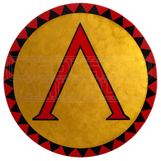 Round Wooden Greek Lambda Shield