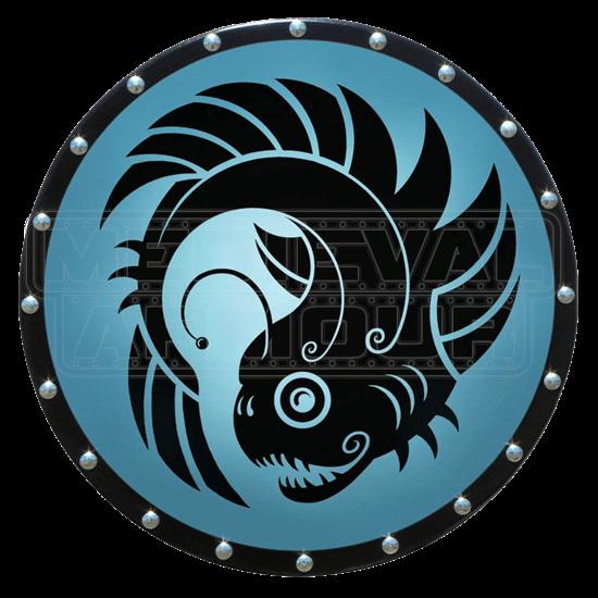Round Greek Lantern Fish Wooden Shield