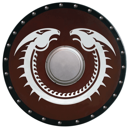 Wooden Viking Dragon Shield with Boss