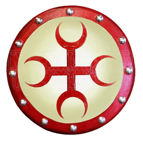 Wooden Moon Cross Buckler Shield